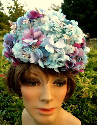 Vintage Blue & Purple All Floral Hat Thelma Harper Mamas Family Costume