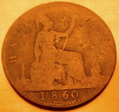 Great Britain 1860 half penny with clear date