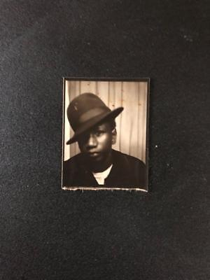Vintage Photo Booth Picture African American Man Nice Hat Cocked to the side!