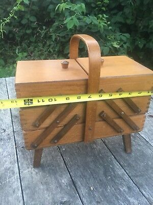 Vintage Wood SEWING BOX Accordion Fold-Out Wooden w/Handle & Legs~Made in Poland