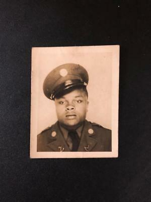 Vintage Military Photo African American Handsome Young Man in Uniform