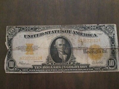 1922 Large Size $10 Gold Certificate Note