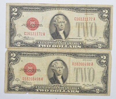Lot (2) Red Seal $2.00 US 1928-D Notes - Currency Collection *240