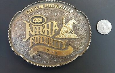 R A Guthrie Designs 1991 NRHA Futurity Open Championship Buckle Sterling/Gold