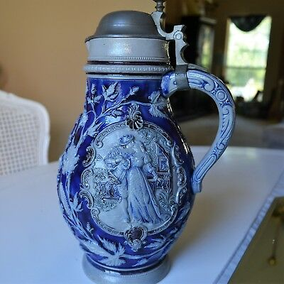 "Vintage large 11"" 2.5 l stein Salt glazed Nice size for party!"
