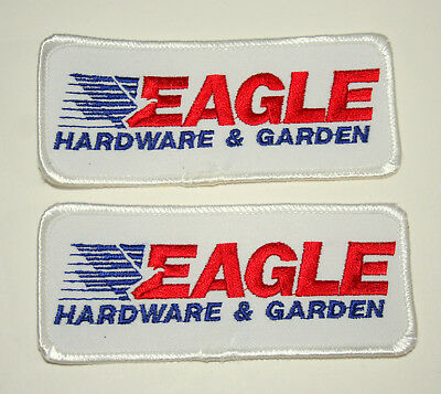 Lot of 2 Vintage Eagle Hardware & Garden Store Patch New NOS 1970s