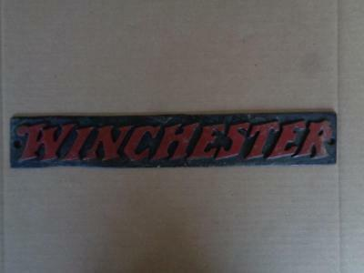 Cast Iron Winchester Display Sign Gun Ammo Hunting Merchandise Sign