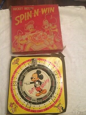 "1950s ""MICKEY MOUSE SPIN-N-WIN GAME"" IN BOX - DISNEYANA TIN LITHO DISNEY"