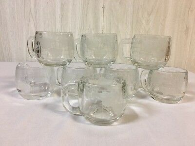 8 Nestle Nescafe World Globe Vintage Glass Mug Cups Etched