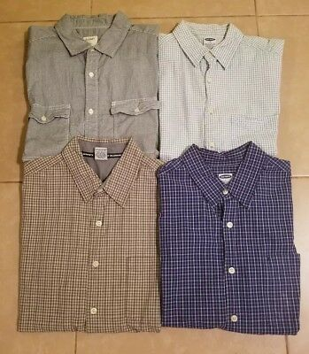 Lot of 4 Old Navy Men's Casual Button Down Shirts Short Sleeve in size L/M