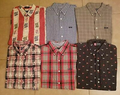 Lot of 6 Chaps Men's Casual Button Down Shirts Short Sleeve in size L (Set #2)