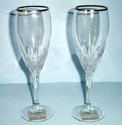 Gorham Crystal Diamond Platinum 2 Piece Champagne Flute Pair $80 New