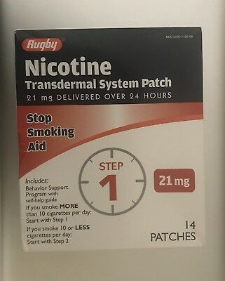 3 Boxes Rugby Nicotine Transdermal System STEP 1 21mg Stop Smoking