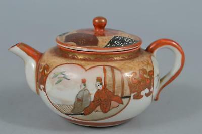 R2934: Japanese Old Kutani-ware Person Bird pattern TEAPOT Kyusu Sencha