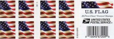 One Book Of 20 U.s. Flag Usps First Class Forever Postage Stamps #b1111