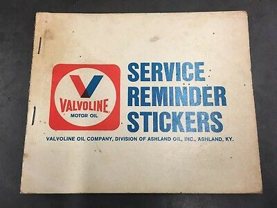 Vintage Valvoline Gas Service Station Reminder Tag Stickers Oil Change Book USA