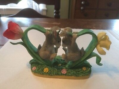 """1997 Charming Tails """"Bunny Buddies"""" Daffodil and Tulip Forming a Heart Figurine"""