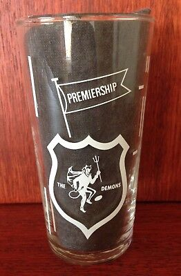 Vintage VFL football honey glass - THE DEMONS  Melbourne   Good condition