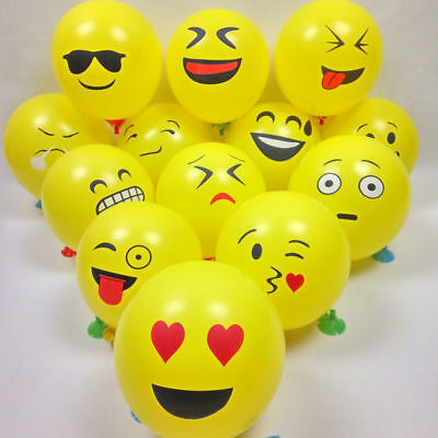 10Pcs Expression Emoji Latex Helium Ballons Birthday Party Wedding Decor Supply