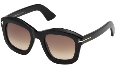 4015deadcc1 Authentic TOM FORD FT0582 - 01F Sunglasses Shiny Black Brown Gradient  NEW   50mm