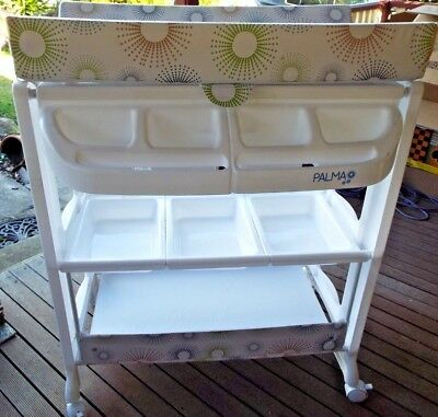 White Baby 'childcare Palma' Change Table, Shelves, Bath Included, Good-Ex Cond.