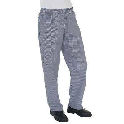 Dennys Blue / White Check Fully Elasticated Trousers Chefs Clothing (DC01E)