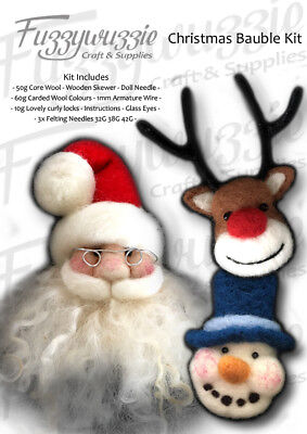 Needle felting felted Christmas bauble kit, core wool, carded colours, needles,