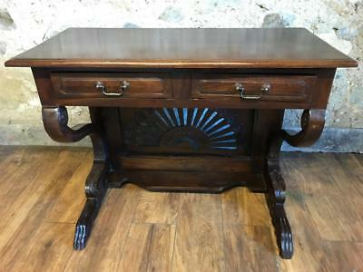 Beautiful Carved Solid Wood 2 Drawer Console Table Side Table