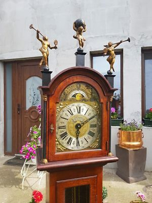 Antique Mahogany Longcase Grandfather Clock - With Moon And Angel Motive