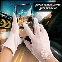 A9A7 Mittens Mobile Phone Touch Screen Glove Soft 6 Colors Lace Flower Women