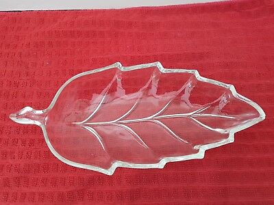 Vintage clear glass leaf-shaped serving dish
