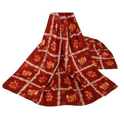 Sanskriti Vintage Dupatta Long Stole 100% Pure Silk Dark Red Batik Work Scarves