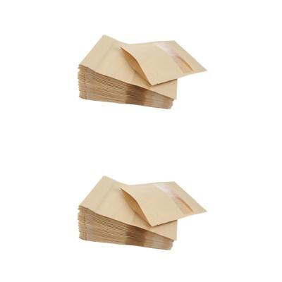 100X Kraft Paper Bags w/ Transparent Window Dry Food Storage 14x22cm&12x20cm
