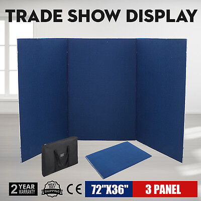 72 x 36 3 Panel Tabletop Display Presentation Board Exhibition Sturdy Blue