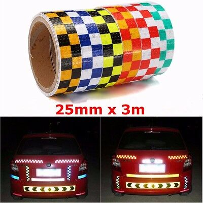25mm * 3m Intensity Reflective Car Sticker Double Color Chequer Roll Signal PVC
