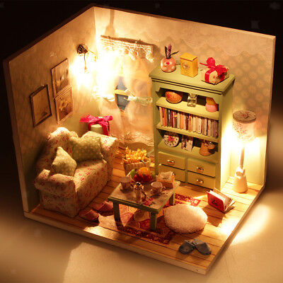 Fun Handcraft Miniature Wooden Dolls House Kit Girls Xmas Gift Family Hall