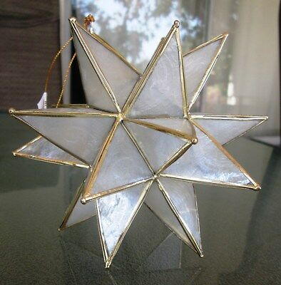 Capiz Shell and Gold 18 Point Christmas Starburst Ornament NWT