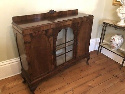 Queen Anne Style Glass-fronted Three Door Sideboard