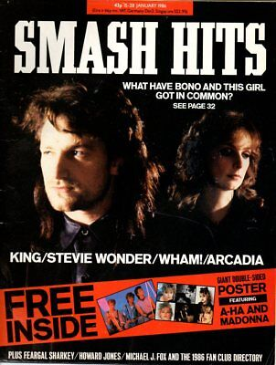 1986 Jan SMASH HITS BONO U2 PAUL KING STEVIE WONDER EURYTHMICS WHAM! ARCADIA