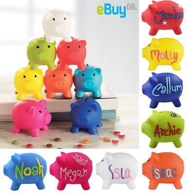 Personalised PIGGY BANK Custom Money Box Pot Savings Fund Coins Hand Drawn UK