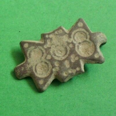 Ancient Celtic Bronze Amulet Decoration With Solar Symbols - 100 Bc