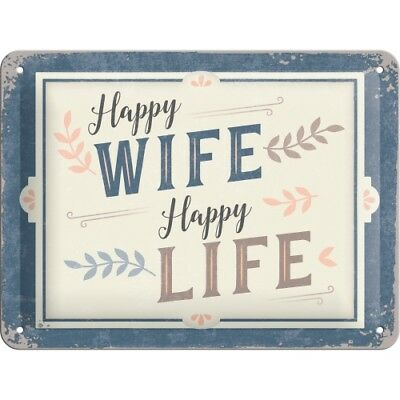 Nostalgic Art -  Blechschild 15x20 cm – Happy Wife Happy Life