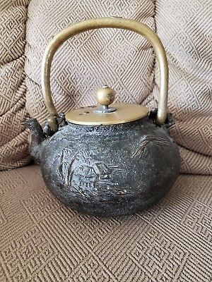 Antique Vintage Japanese Cast Iron Teapot