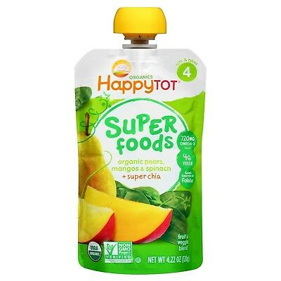 Happy Tot Organic Stage 4 Super Foods Pears Mangos and Spinach + Super Chia, ...