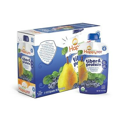 Happy Tot Organic Stage 4 Fiber & Protein Pears Blueberries & Spinach, 4 Ounc...