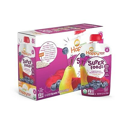 Happy Tot Organic Super Foods Pouch Stage 4 Pears Blueberries & Beets + Super...