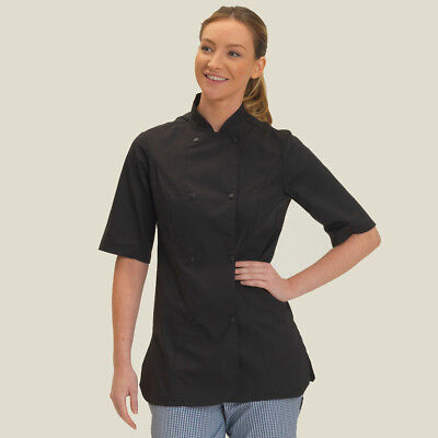 Dennys Ladies' Short Sleeve Chef's Jacket Cooks Whites Womens Fit (DD33S)