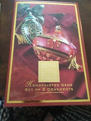 2 Lenox Holiday Gems Christmas Ornaments * HandPainted *Crystal * Ribbon&Tassels
