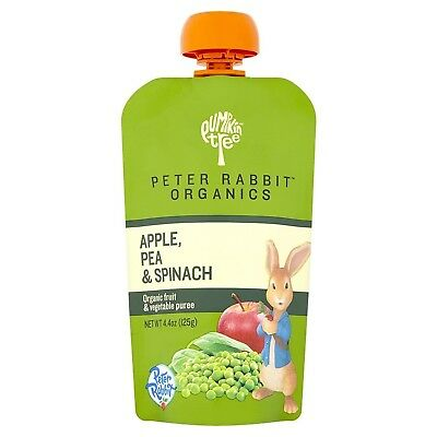 Peter Rabbit Organics, Apple, Pea & Spinach Puree, 4.4 Ounce Squeeze Pouch (P...