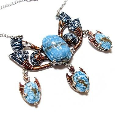 Beautiful Old Vintage Egyptian Revival Sacrab Beetle Enamel Necklace  (B22)
